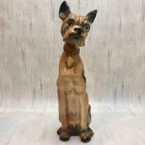 "Vintage 14"" Ceramic Boxer Dog Statue"